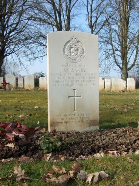Grave of Pte J Starkey, Hotton War Cemetery, Belgium, March 2015.
