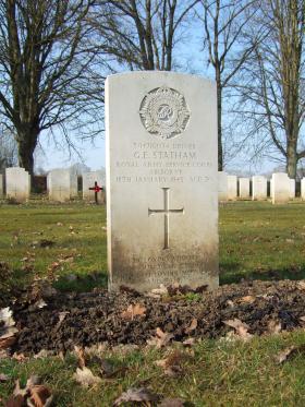 Grave of Driver G E Statham, Hotton War Cemetery, Belgium, March 2015.