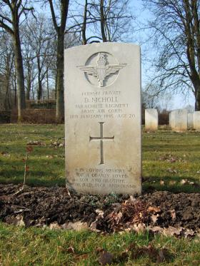Grave of Pte Derek Nicholl, Hotton War Cemetery, Belgium, 2015.