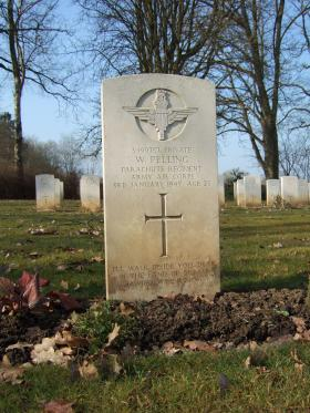 Grave of Pte Walter Pelling, Hotton War Cemetery, Belgium, 2015.