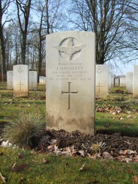 Grave of Pte John Haggerty, Hotton War Cemetery, Belgium, 2015.