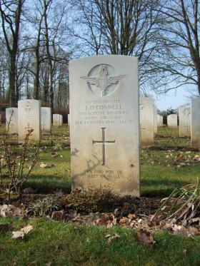 Grave of Pte James O'Connell, Hotton War Cemetery, Belgium, 2015.