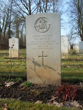Grave of Cpl F J Boyce, Hotton War Cemetery, Belgium, March 2015.