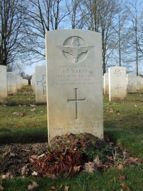 Grave of Cpl Eric C Baker, Hotton War Cemetery, Belgium, 2015.