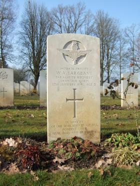 Grave of Pte William A Sargeant, Hotton War Cemetery, Belgium, 2015.