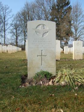 Grave of Pte Arthur C Bachelor, Hotton War Cemetery, Belgium, 2015.