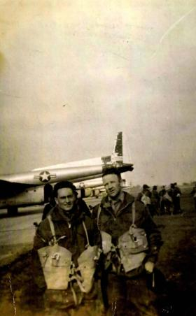 Cpl McLeod and Cpl Dunbar, emplaning onto US C119s, Buckeburg Airfield Germany, 1950's.