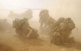 Paras in a dust storm caused by a Chinook Helicopter, Musa Qala, Afghanistan, 2008.