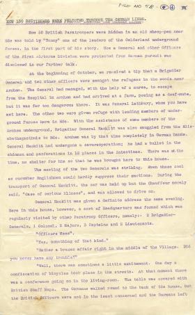 Account of how Gelderland underground forces helped Paras through German lines.