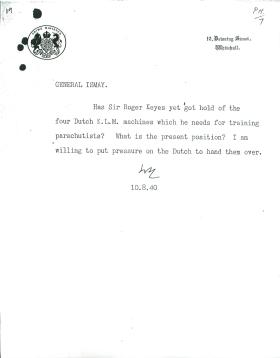 Letter from General Ismay to Churchill about parachute troops