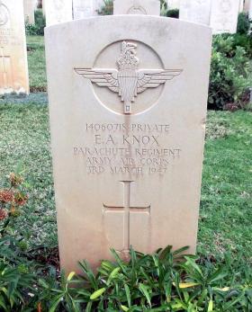 Grave of Pte E A Knox,  Khayat Beach War Cemetery, Israel, 1 January 2015.