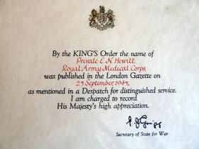 Notification of Private Ernest Hewett's Mentioned in Dispatches, September 1943.