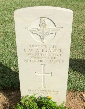Grave of Pte E  Alexander, Khayat Beach Cemetery, 1 January 2015.