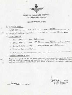 Steve 'Yank' Thayer's Depot Recruit Training Report, 1974
