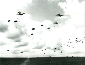 Possibly the first training fatality from a parachute failing to open (centre left).