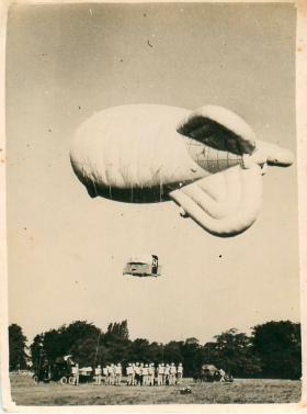 Parachute training using a barrage balloon at Ringway. This method of training was still used into the 1990s.