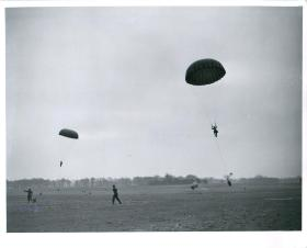 Parachute training descent with kitbags at Tatton Park, April 1944
