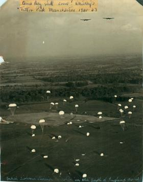 Paratroopers descend from Whitley aircraft, possibly Tatton Park, Manchester, 1941-43.
