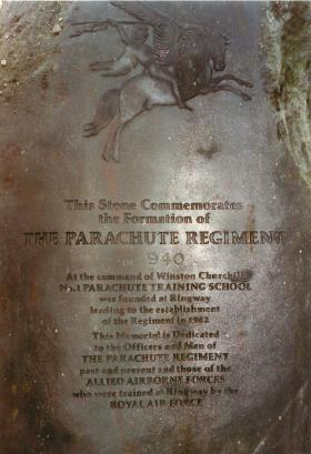Stone commemorating the formation of the Parachute Regiment at Ringway.