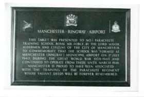 Tablet commemorating No. 1 Parachute Training School.