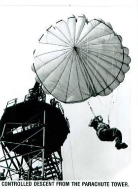 Controlled landing from the parachute tower.