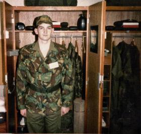 Stuart Mackie presents his locker for inspection, Browning Barracks, Aldershot, 1983