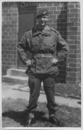 Pte Ted Atkins  at Piddlehinton Dorset in Summer 1946
