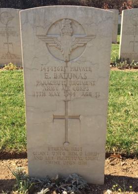 Headstone of Private Edward Balunas, Cassino War Cemetery, Italy 2017.
