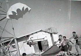 Egbert, 1 Para's parachuting monkey landing in Bahrain, 1964
