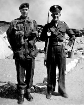 John Finn on the left, Irish Guard, Egypt, c1951.