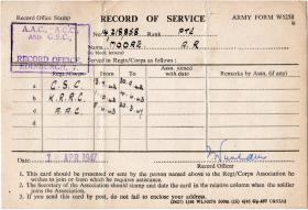 Record of Service card for Pte Moore.