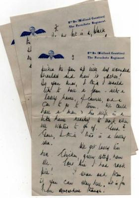 8th (Midlands) Parachute Battalion note paper, 1943.