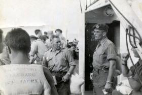 Sgt Peter Malone, centre, en route to Suez, 1956.