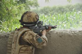 3 PARA soldier engaging the enemy, Musa Qala, Afghanistan, August 2008.