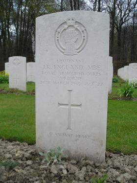 Headstone for A/Captain JK England, Reichswald Forest War Cemetery, 2010.