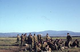 Members of 16 Lincoln Coy after a descent from a Hastings aircraft, Morphou Cyprus, 1963