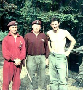 Three members of 15 PARA, Reichswald Forest, Germany, date unknown.