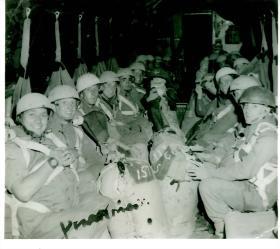 C Coy, 1 PARA, Sgt Major Angus McDonald (MBE) front left, Valetta Aircraft, Amman, Jordan, 1953.
