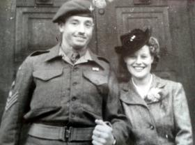 C/Sgt Eric Seal marrying Land Army girl Mavis Crossley. date unknown.