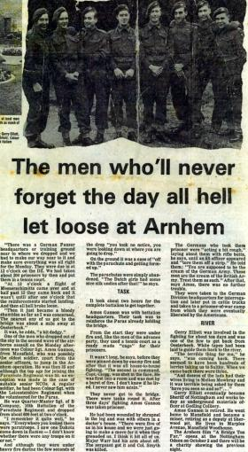 'Evening Post' article featuring Amos Gannon's account of Arnhem, 1977.