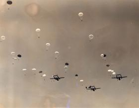 Men of 16th Airborne Division descend on Exercise King's Joker, 1953
