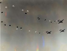 Men of 16th Airborne Division descend from C119s, Exercise King's Joker, 1953