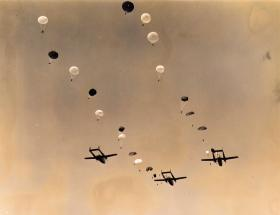 Men of 16th Airborne Division descend from C119s Exercise King's Joker, 1953