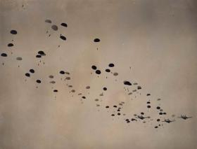 Mass drop onto Stanford by members of 16th Airborne Division, Ex King's Joker, 1953