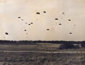 Paratroops of 44th Parachute Bde descend during Ex King's Joker, 1953