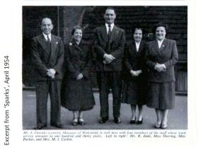 Group photograph from 'Sparks' (the Marks & Spencer staff magazine), April 1954.
