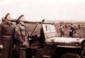Sgt Alcock and unknown with Jeep, possibly Hankley Common.