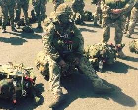 WO2 'Mac' Magreehan pre jump on Exercise Joint warrior, Kevel airfield, 2015.