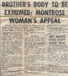 Newspaper article on exhumation of Sgt McNeilly's body, 1975.