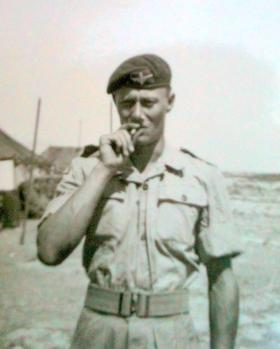 L/Cpl Fred Ogden having a break, No 1 (Guards) Independent Company, Cyprus, 1956.